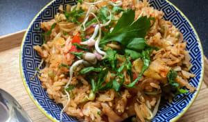 Le riz sauté du jour : aigre-doux au chou fermenté