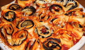 Wraps de lasagnes, aubergines, jambon sec, et mozzarella