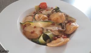 Raviolis au chorizo et confit d'oignon et ses tagliatelles de légumes