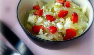 Salade fraîche de fenouil, fraises et fêta