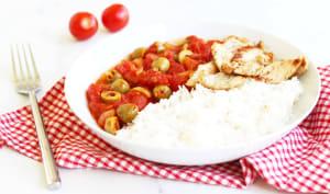 Poêlée de dinde à la tomate et aux olives
