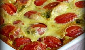 Clafoutis aux tomates cerises, chèvre et pesto