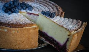 Käsekuchen façon cheesecake aux myrtilles