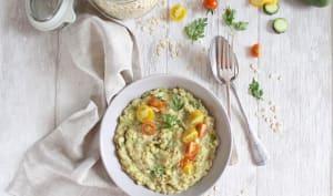 Porridge salé d'orge, courgettes et tomates cerises