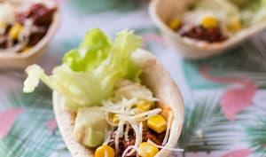 Mini Panadillas apéritives : boeuf, avocat, maïs, salade, fromage