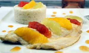 Filets de bar aux suprêmes d'agrumes, caramel d'agrumes et son riz coco