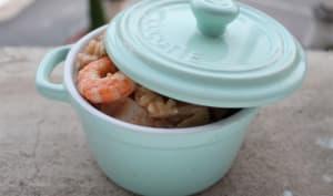 Risotto terre et mer poulet, crevettes et coco