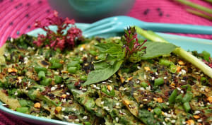 Crêpes au kale et basilic Thaï
