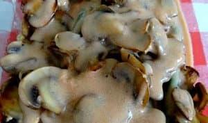 Jambon poêlé aux champignons et asperges sauce au vin blanc