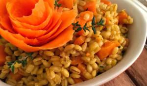 Risotto d'orge au potiron, carotte, curcuma et thym