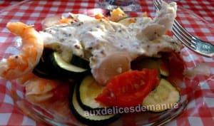Filets de merlan à la crème moutardée et légumes au four