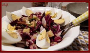 Salade trévise aux pommes, comté et oignons caramélisés