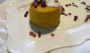 Moelleux au potiron, crème au parmesan et lardons croquants