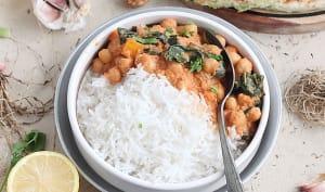Curry de pois chiches et épinard, Paratha à la ciboule