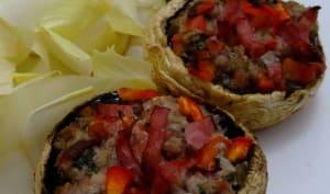 Champignons de Paris farcis au bacon, fromage frais et poivron