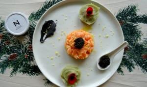 Saumon mariné et purée de pommes de terre au beurre de caviar