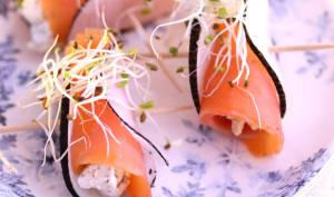 Bouchées de radis noir au saumon fumé