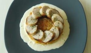 Boudin blanc, marmelade de pommes et sauce au cidre