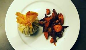 Aumônières de canard à la figue et aux amandes