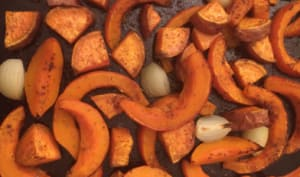 Potimarron et patate douce rôtis au four