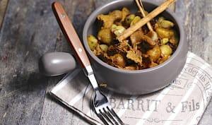 Poêlée de châtaignes aux girolles raisins et épices