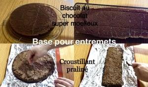 Biscuit au chocolat et croustillant praliné