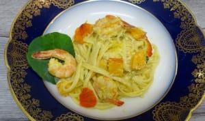 Linguine au potimarron, crevettes et basilic