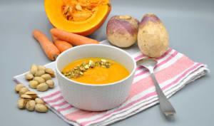 Soupe potimarron carotte navet orange