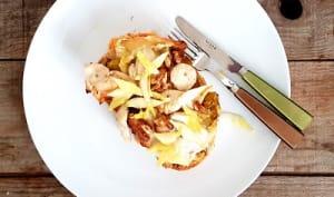 Bruschetta poulet, camembert et endives