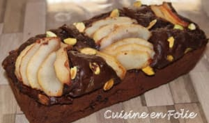 Cake chocolat, poire et pistache