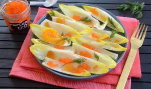 Salade d'endives aux oeufs de truite et à la poutargue