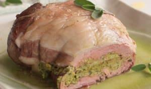 Selle d'agneau farcie, épinards et sauge, cuisson basse température
