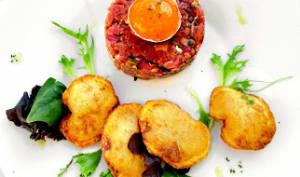 Tartare de bœuf à l'Italienne, pommes soufflées