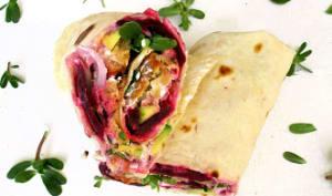Wraps falafels, avocat, betterave et pourpier