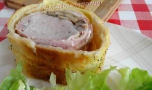 Filet mignon de porc en croûte à la poitrine fumée, champignons et mozzarella, noël économique