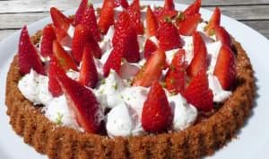 Tarte renversée aux fraises, chantilly coco