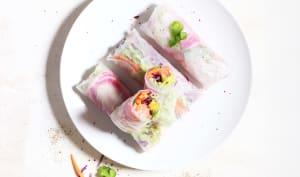 Spring rolls aux légumes crues, mangue et saumon