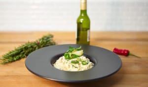 Risotto d'asperges épicé au beurre noisette et oignons nouveaux glacés