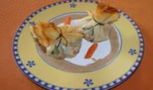 Aumônières de saumon et crevettes