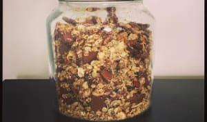 Granola maison au chocolat au lait, amandes et noix