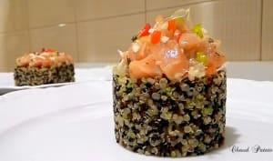 Quinoa multicoloré et saumon fumé à froid aux saveurs exotiques
