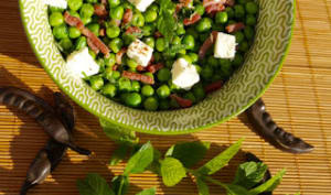 Salade de petits pois lardons feta et menthe