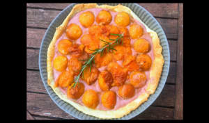 Tarte aux abricots rôtis et curd aux fraises