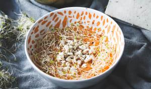 Soupe froide de melon, ricotta au basilic et graines germées d'alfalfa