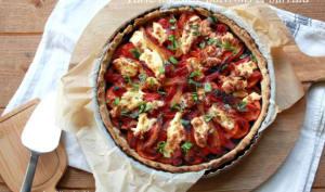 Tarte aux tomates, poivrons et burrata