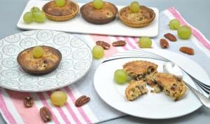 Tartelettes amandine, noix de pécan et raisins blancs