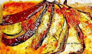 Éventail d'aubergine au confit de poivron rouge et herbes de Provence
