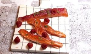 Saumon gravlax à la framboise