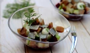 Salade de hareng fumé, betterave et granny smith