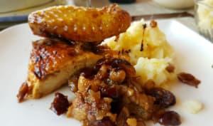 Poularde rôtie sauce aux canneberges et au carvi